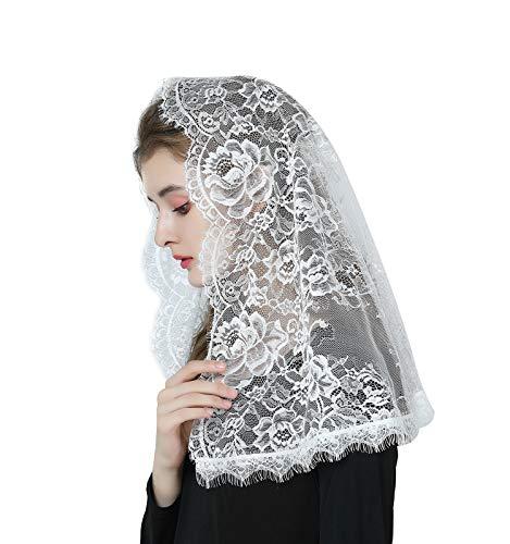 Mantilla De Encaje Española Mujer Capilla Velo Pañuelo de Lglesia Católica Bordado Chal Bufanda Negra Blanca V114