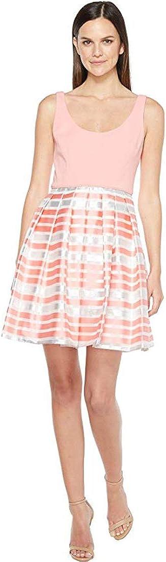 Aidan Mattox Women's Scoop Neck Shadow Stripe Dress