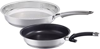 Fissler Steelux Premium Crispy & Protect / Non-Stick Fry-Pan Set, (8-Inches, 12-Inches), Stainless Steel Cookware, Compatible-Stovetops: Induction, Gas, Electric, Dishwasher-Safe