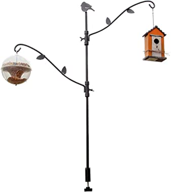 Home-X Multi-Hook Bird Feeder Pole Deck Kit with Two Adjustable Branches