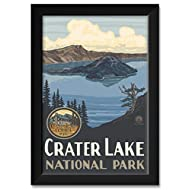 "Crater Lake National Park Professionally Framed Art Print from Original Travel Artwork by Artist Paul A. Lanquist Framed Art Size: 14"" x 20"""