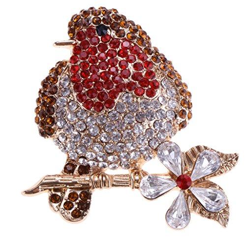 Hellery Ramo de Novia Broche de Cristal Transparente Rojo Broches Joyería de Mujer Día de La Madre