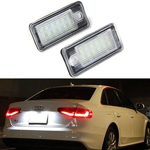 Ralbay 2pcs Eclairage de Plaque Immatriculation Feux de Plaque d'Immatriculation Lampe Ampoule LED de Plaque Étanche 18 LED 3528SMD Xenon Blanc pour Audi A3 S3 A4 S4 B6 B7 A6 S6 A8 S8 Q7