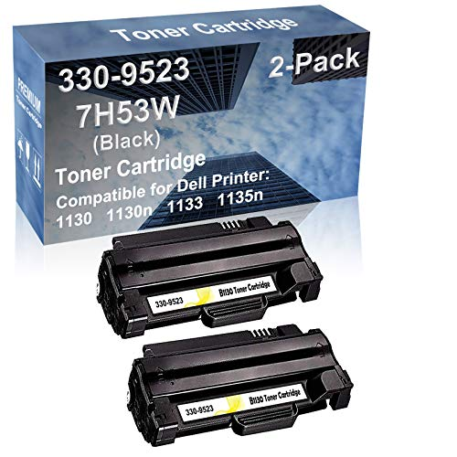 2-Pack Compatible High Capacity 1130 1130n 1133 1135n Printer Toner Cartridge Replacement for Dell 330-9523 (7H53W) Printer Cartridge (Black)