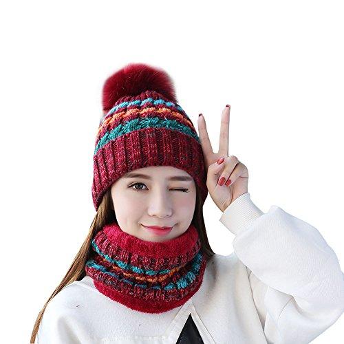 TININNA Sombrero y Bufanda Mujer Invierno, Caliente Gorras con Scarf de Forro de Lana de Punto de Esquiar para Chicas 2 Piezas-Rojo