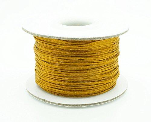 Old Gold 0.8mm Chinese Knot Nylon Braided Cord Shamballa Macrame Beading Kumihimo String (50yards Spool)