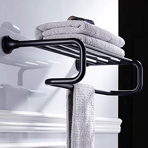 ZKAIAI Punch-libre Negro de bronce de toallas de toallas negro estante antiguo Europea Retro baño de latón Accesorios de hardware barra de toalla Toalla Bar Soportes de toallas Multi-capa de almacenam