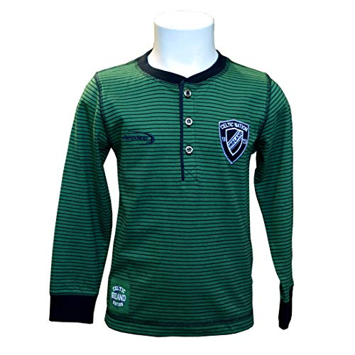 Kids Long Sleeve Henley Rugby T-Shirt with Celtic Nation 1823 Ireland Crest Green