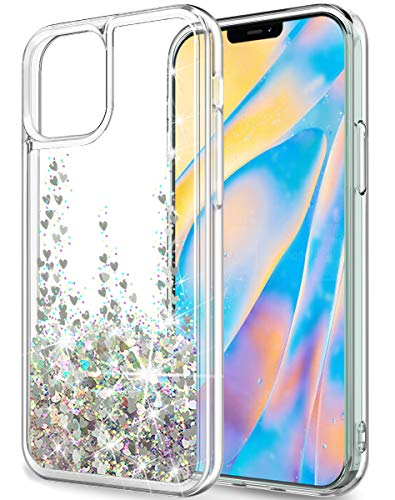 SunRemex Compatible with iPhone 12 Case Glitter Clear,iPhone 12 Pro Case Glitter Clear,iPhone 12/12 Pro 5G Case for Women with Moving Shiny Quicksand for iPhone 12/12 Pro 5G (6.1 inch) (Silver)