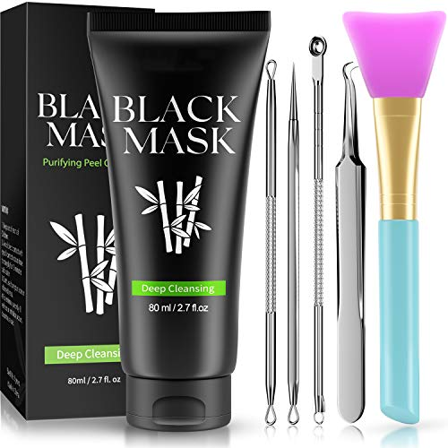 Blackhead remover mask 3-in-1 TOTCLEAR Blackhead Removal Mask, Purifying Peel Off Mask with Acne & BlackheadExtractor Kit and Silicone Brush, Deep Cleansing Blackheads Removal Kit