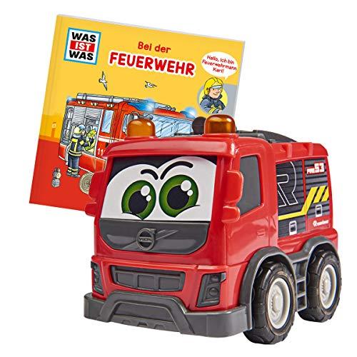Dickie Toys 203812009 Was ist Was-Feuerwehr, Volvo Rosenbauer Feuerwehr mit Freilauf, inkl. Was ist Was Buch, farbecht und speichelfest, Spielzeug ab 1 Jahr, 14,5 cm, rot