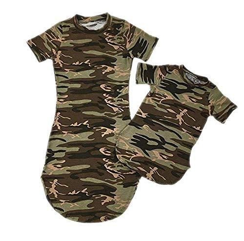 Mutter und Tochter Kleidung, Sommerkleider Gestreift Shirtkleider Partnerlook Mama Kind Kleid Blusenkleider Strandkleider Minikleid Tunika Longshirt Blusenkleid Hemdkleid (Camouflage, Mutter-S)