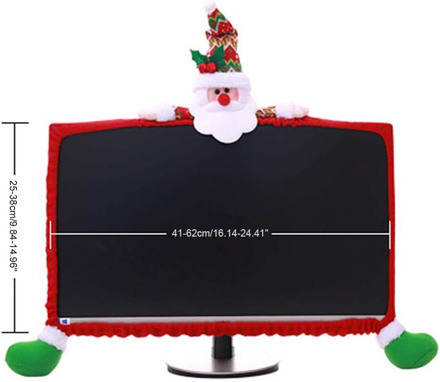 TOYANDONA Weihnachten Computer Monitor Abdeckung GNOME Weihnachtsmann Figur Staubschutz Elastische Laptop Computer Abdeckung Weihnachtsdeko Tischdeko f/ür LCD Bildschirm