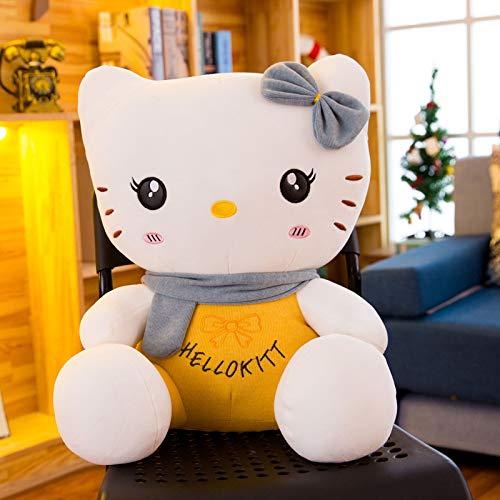 ACUOHU Peluche Créative en Peluche Embrassant Un Oreiller Doux pour Enfants/Couples/Jouets pour Personnes Âgées Poupées Oreiller De Couchage Assis Hello Kitty 60 Cm Gris