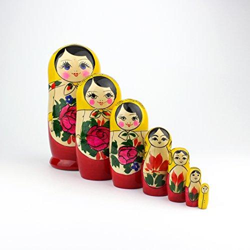 Heka Naturals Russische Matroschka-Puppen, 7 traditionelle Matroschkas Klassisch Semyonov Gelb | Babuschka Holzpuppe Geschenk Spielzeug, Handgefertigt in Russland | Semyonov Gelb, 7 Stück, 18 cm