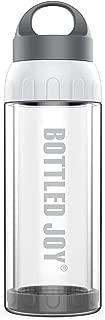 Bottled Joy Glass Water Bottle, Shatter-proof 16oz Leak-proof Lid Heat Insulated Reusable BPA-Free Smoothie Container Dishwasher Safe for Drinking Juice Beverage