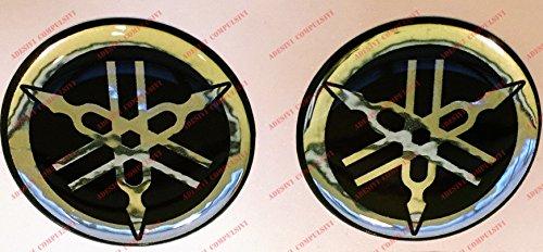 Emblema adhesivo de resina con logotipo de Yamaha, efecto 3D, color negro, cromado, para depósito o casco