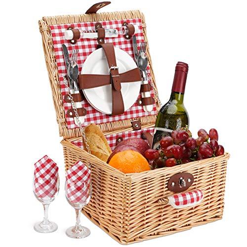 Picknickkorb für 2 Personen, langlebiges Wicker-Picknickkorb-Set, Willow-Picknickkorb-Zubehörteller und -utensilien, perfektes Hochzeits-, Jubiläums- oder Geburtstagsgeschenk (roter Scheck)