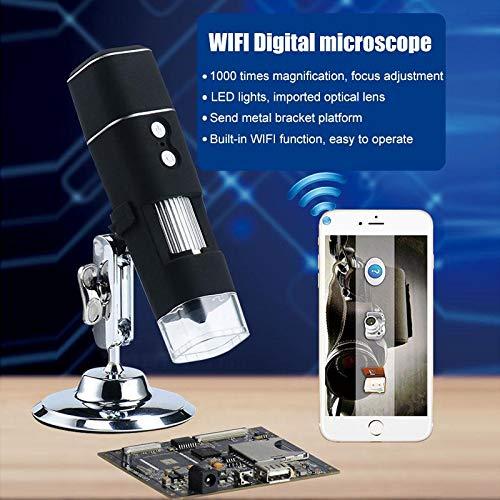 YELLAYBY 1000X WiFi Microscopio digital HD 1080P 8 Microscopio LED Microscopio Microscopio de microscopio Video para pcb Solder Tobides Watching Observación Natural/Inspección Piezas