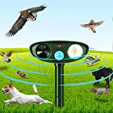 ASSCA Cat Repellent, Solar Waterproof Ultrasonic Animal Deterrent, Motion Sensor Farm for Garden and Flashing Lights, Foxes, Birds, Skunks