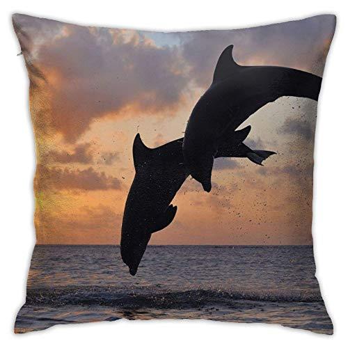Funda de Cojín clásico Fundas Cojine,Cuerpo de Salto de Pareja de Delfines,Cojín Cubierta Cuadrado Decorativo para sofá Coche Cama,45×45cm