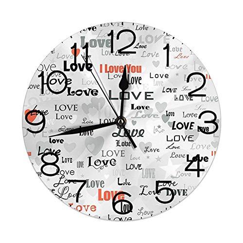 ALLdelete# Wall Clock Runde Wanduhr Wohnkultur, Liebe, Feiern Happy Times Jubiläum Geburtstagsgruß Liebe Themed Artwork, Hellgrau Schwarz Rot