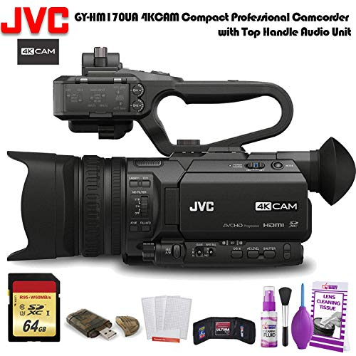 JVC GY-HM170UA 4KCAM Compact Professional Camcorder with Top Handle Audio Unit (GY-HM170UA) W/...