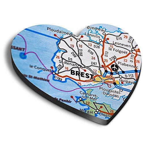 Destination Vinyl ltd Imanes de MDF de corazón – Brest Port City Francia mapa de viaje francés para oficina, armario y pizarra blanca, pegatinas magnéticas 44444