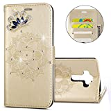 IKASEFU 3D Clear Crown Rhinestone Diamond Bling Glitter Wallet with Card Holder Emboss Mandala Floral Pu Leather Magnetic Flip Case Protective Cover Compatible with LG G4,Gold