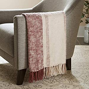 "The varied blush-pink tones of this modern throw blanket form a tartan-like plaid with variegated stripes of color offset by soft white. The white fringe gives the blanket a polished, yet cozy, aesthetic. 100% cotton Imported 50""L x 60""W This lovely ..."