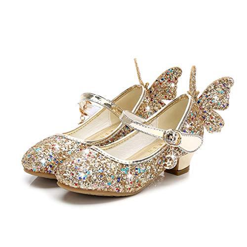 Prinzessin Schuhe für Mädchen, Dorical Prinzessin Gelee Partei Absatz-Schuhe Sandalette Stöckelschuhe Bling Bowknot einzelne Sandalen Säuglingsschule Walker Schuhe für Kinder(Z1-Gold,32 EU)