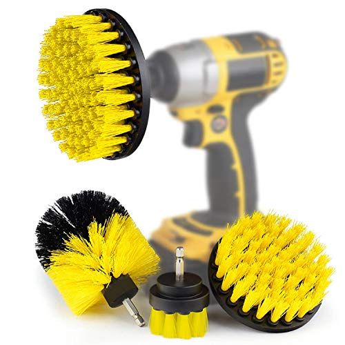 4 Pcs Drill Brush Scrub Brush Electric Drill Attachment Power Scrubber Cleaning Kit, for Cleaning Bathroom,Pool Tile,Flooring,Brick,Ceramic,Marble,Car & Grout All Purpose Drill Scrub Brush (Yellow)