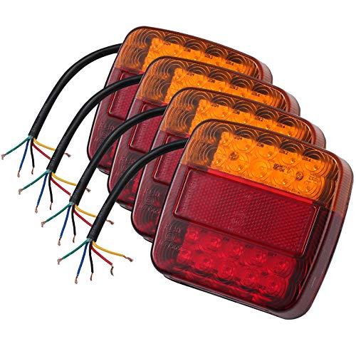 Justech 4X 12V Rückleuchten Set IP65 mit E-Mark Universal LED Rücklichter Rückfahrlicht Autokennzeichen Beleuchtung Anhängerbeleuchtung Rücklicht Kennzeichenbeleuchtung für Trailer Truck Anhänger usw