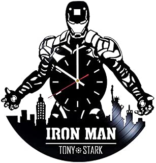 Iron Man Vinyl Clock, Iron Man Wall Clock, Marvel Avengers Ornament, Iron Man Wall Art, Tony Stark Decor, Iron Man Gift for Boys