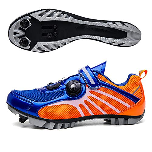 Elite SPD MTB Cycling Shoes for Men Women Ideal for Mountain, Cyclo Cross Country XC Bikes in Included Blue/Orange-41