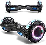 """HappyBoard Hoverboard - 6,5"""" - Bluetooth - Moteur 700 W - Vitesse 15 km/h - LED - Skateboard Électrique Auto-équilibrée - pour Enfants et Adultes (Noir Carbon)"""