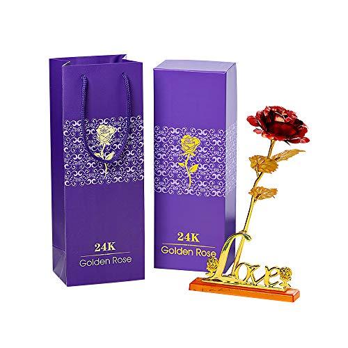 LTXDJ Rosa de 24k, Flor para Siempre con Soporte Dorado y Caja de Regalo para mamá/Abuela/Novia, Regalo romántico para el día de San Valentín, día de la Madre, Aniversario, cumpleaños, Navidad