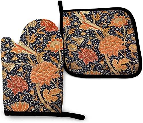 MODORSAN Craft Arts - Juego de manoplas y soportes para ollas, antideslizantes, resistentes al calor, impermeables, para cocina, cocina, hornear, parrilla, color negro, talla única