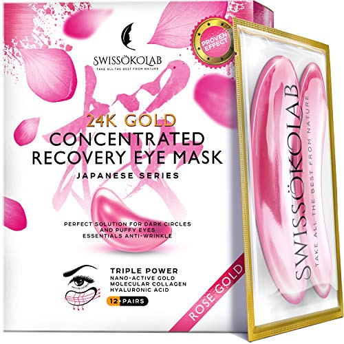 Eye Pads 24k Rose Gold Eye Mask Anti-Aging Hyaluronic Acid Eye Patches Pink Under Eye Mask for Moisturizing & Reducing Dark Circles Puffiness Wrinkles