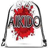 Dingjiakemao Bolsas De Cuerdas para Infantil Mochila con Cordón Bolsas Aikido Font Sports Gym Bag