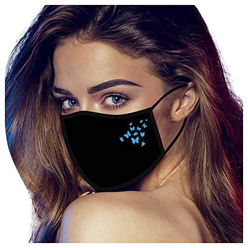 Dwevkeful Erwachsene Libelle Schwarz Mundschutz 3D Print Motiv Waschbar Wiederverwendbar Stoff Winddicht Multifunktionstuch Mund und Nasenschutz Mundbedeckung Face Covering