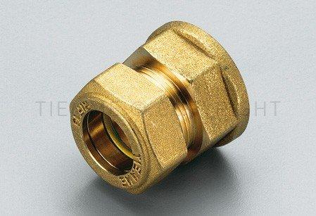 Tiemme- Racor de compresión de serie 1350 con conexión a bicono para tubo de cobre C/Oring para gas, 3/8 pulgadas x 10