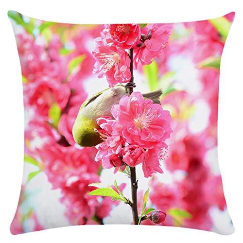 Generic sanmeiyang Frühlingsblüte Kissenbezug Birds Decor Kissenbezug für Wohnzimmer Sofa Schlafzimmer Kissenbezug,Vogelblüte
