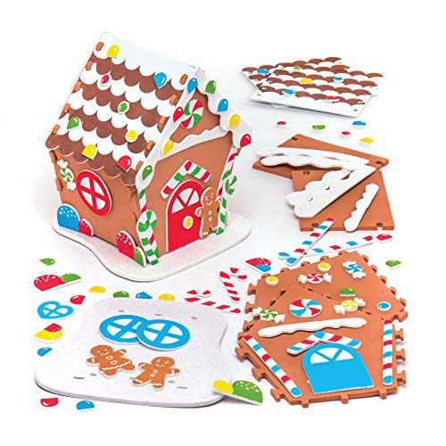 Baker Ross Foam Gingerbread House Kits — Creative Christmas Art and Craft Supplies for Kids to Make and Decorate (Pack of 2)