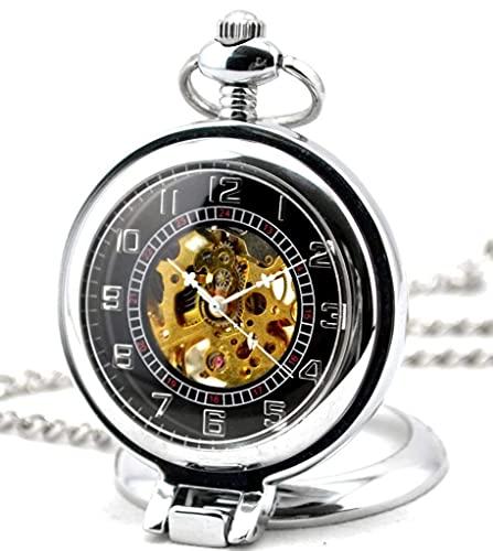 ZHAOJ Esqueleto Hueco Lupa de ángulo Recto Acero Movimiento mecánico Reloj de Bolsillo Plata