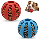 Dog Toy Ball, Non-Toxic bite-Resistant Natural Elastic Rubber Ball 2 Pack,Small and Medium Interactive Dog Toys ,pet Food Treatment feeders, Chewing Teeth Cleaning Balls, IQ Training Balls