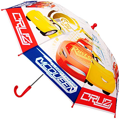 alles-meine.de GmbH Regenschirm -  Disney Cars / Lightning McQueen - Auto  - Kinderschirm Ø 80 cm / lichtdurchlässig & durchscheinend - halb transparent - Kinder - groß Stocksc..