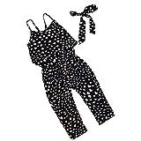 2019 Toddler Little Girls One-Pieces Floral Corset Romper Jumpsuit Harem Pants Overalls (Black, 6T)
