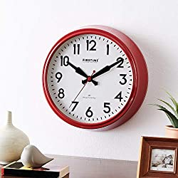 FirsTime & Co. Red Victor Modern Whisper Clock, American Crafted, Satin Red, 16 x 3.75 x 16 , , 16 inches
