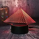 3d lampara de la noche Luz De Noche Led Pirámide del Museo del Louvre decoración de dormitorio regalo lámpara de noche creativa regalo Con interfaz USB, cambio de color colorido